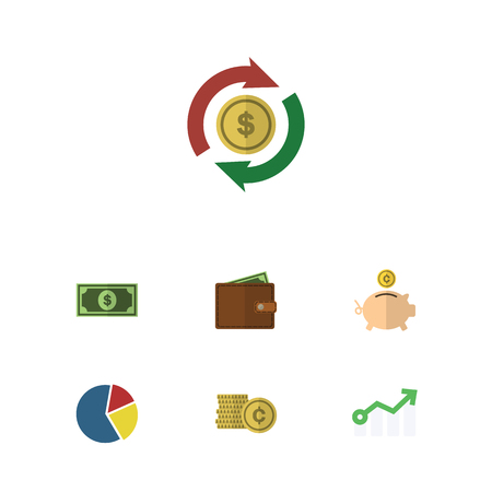 relational: Flat Icon Gain Set Of Greenback, Money Box, Interchange And Other Vector Objects. Also Includes Pie, Bank, Exchange Elements.