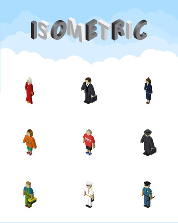 Isometric Human Set Of Guy, Detective, Lady And Other Vector Objects Illustration