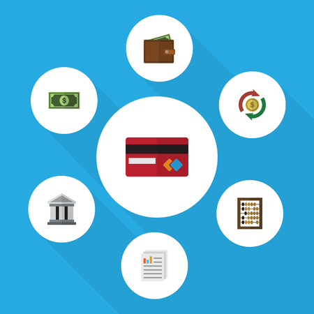 Flat Icon Finance Set Of Greenback, Interchange, Billfold And Other Vector Objects Illustration