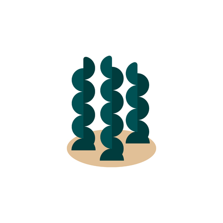 Isolated Seaweed Flat Icon Çizim