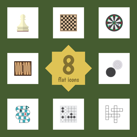 backgammon: Flat Icon Play Set Of Gomoku, Guess, Dice And Other Vector Objects