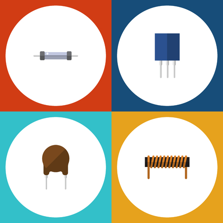 Flat Icon Electronics Set Of Resistor, Receptacle, Bobbin And Other Vector Objects