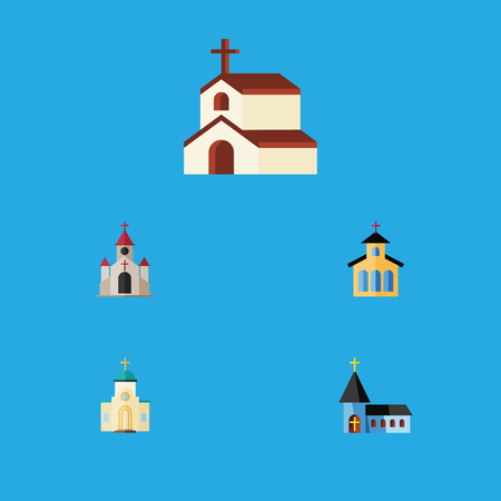 Flat Icon Building Set Of Catholic, Traditional, Religion And Other Vector Objects