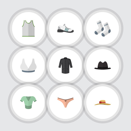 Flat Icon Clothes Set Of Brasserie, Singlet, Elegant Headgear And Other Vector Objects