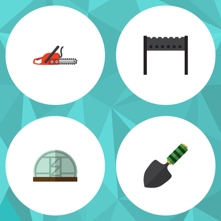 Flat Icon Dacha Set Of Hothouse, Barbecue, Trowel And Other Vector Objects Illustration