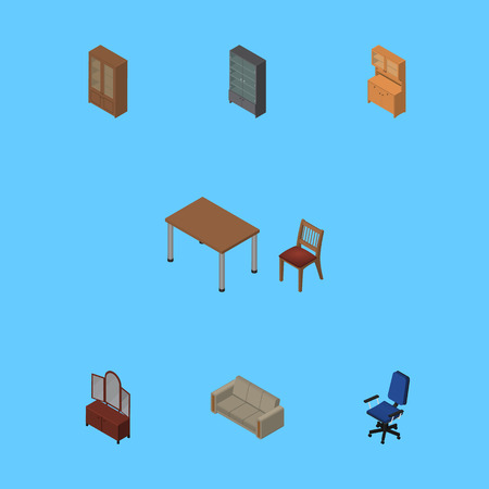 Isometric Design Set Of Sideboard, Office, Cupboard And Other Vector Objects