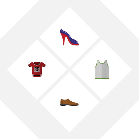 Flat Icon Dress Set Of Singlet, T-Shirt, Male Footware And Other Vector Objects Illustration