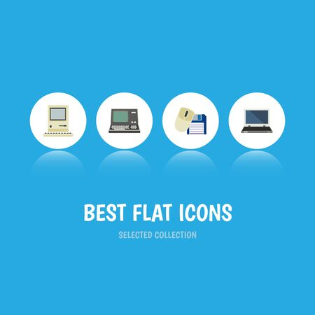 Flat Icon Laptop Set Of Notebook, Computer Mouse, Technology And Other Vector Objects
