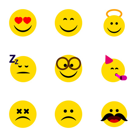 Flat Icon Face Set Of Smile, Love, Angel And Other Vector Objects Illustration