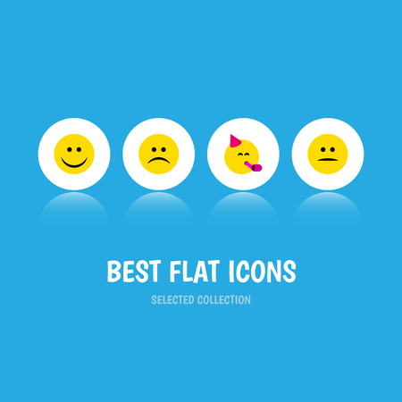 quandary: Flat Icon Face Set Of Party Time Emoticon, Displeased, Sad And Other Vector Objects. Also Includes Sad, Mood, Party Elements. Illustration