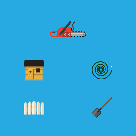 Flat Icon Garden Set Of Hosepipe, Shovel, Stabling And Other Vector Objects. Also Includes Shovel, Blade, Saw Elements.