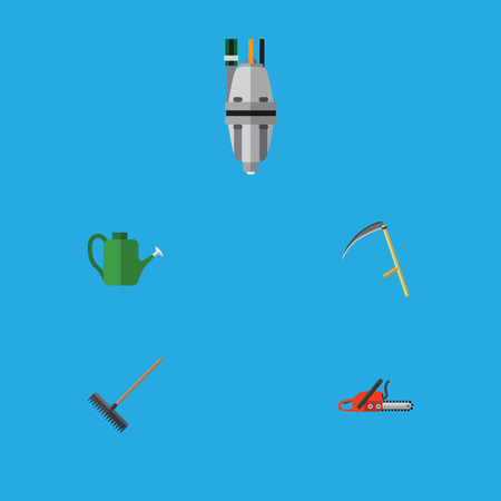Flat Icon Dacha Set Of Harrow, Hacksaw, Cutter And Other Vector Objects. Also Includes Scythe, Watering, Can Bailer Elements. Illustration