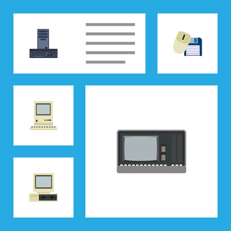 computerized: Flat Icon Computer Set Of Computer Mouse, Vintage Hardware, Computer And Other Vector Objects. Also Includes PC, Retro, Computing Elements. Illustration