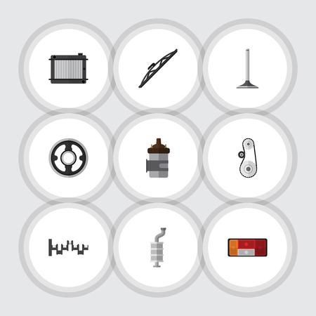 Flat Icon Auto Set Steels Shafts, riem, Cambelt en andere Vector-objecten. Omvat ook Achterlicht, Cambelt, Windschermelementen.