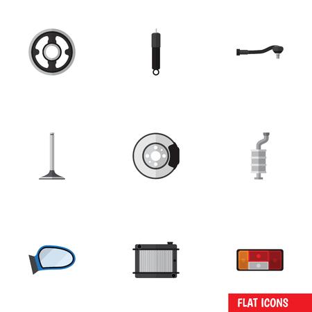 Flat Icon Auto Set van koplamp, metaal, autosegment en andere vectorobjecten. Omvat ook kachel, metaal, verbrandingselementen.