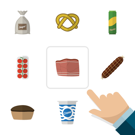 Flat Icon Food Set Of Tart, Tomato, Cookie And Other Vector Objects. Also Includes Apple, Bratwurst, Tart Elements.