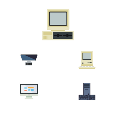 lcd tv: Flat Icon Laptop Set Of Computing, Computer, PC And Other Vector Objects. Also Includes Computer, Screen, Keyboard Elements.