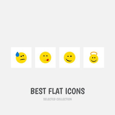 Flat Icon Emoji Set Of Winking, Tears, Delicious Food And Other Vector Objects. Also Includes Tears, Face, Food Elements. Illustration