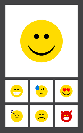 Flat Icon Expression Set Of Sad, Grin, Asleep And Other Vector Objects. Also Includes Heart, Pouting, Angry Elements.