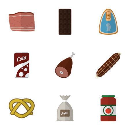 broth: Flat Icon Meal Set Of Smoked Sausage, Meat, Ketchup And Other Vector Objects. Also Includes Bag, Chocolate, Cookie Elements.