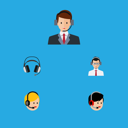 hotline: Flat Icon Hotline Set Of Operator, Earphone, Help And Other Vector Objects. Also Includes Headset, Earphone, Operator Elements.