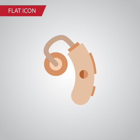 physical impairment: Isolated Hearing Aid Flat Icon. Audiology Vector Element Can Be Used For Hearing, Aid, Audiology Design Concept.