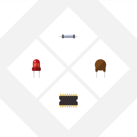Flat Icon Appliance Set Of Microprocessor, Resistor, Recipient And Other Vector Objects. Also Includes Resistor, Transistor, Resistance Elements. Illusztráció