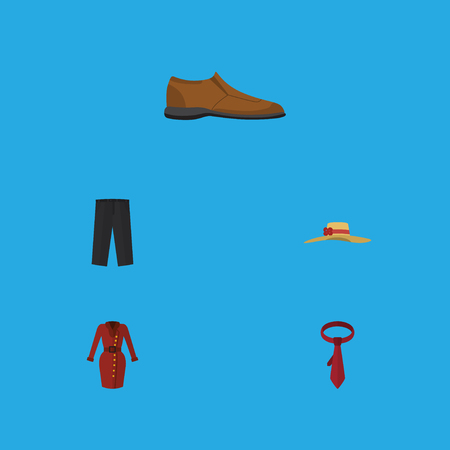 Flat Icon Dress Set Of Cravat, Elegant Headgear, Pants And Other Vector Objects. Also Includes Garment, Footware, Leggings Elements.