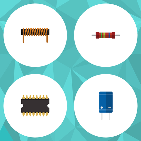 Flat Icon Electronics Set Of Resistance, Transistor, Bobbin And Other Vector Objects. Also Includes Transistor, Central, Resistor Elements. Illustration