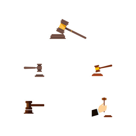 Flat Icon Court Set Of Legal, Court, Law And Other Vector Objects. Also Includes Law, Courthouse, Hammer Elements.