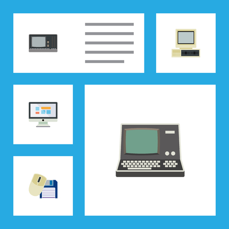 Flat Icon Computer Set Of Vintage Hardware, Technology, Computer Mouse And Other Vector Objects. Also Includes Monitor, Vintage, Mouse Elements.