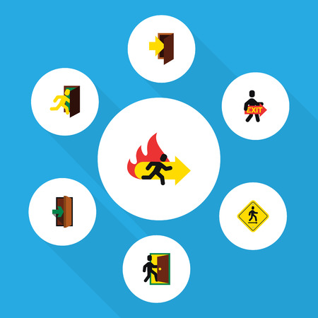 Flat Icon Emergency Set Of Exit, Entrance, Direction Pointer And Other Vector Objects. Also Includes Fire, Board, Entrance Elements.