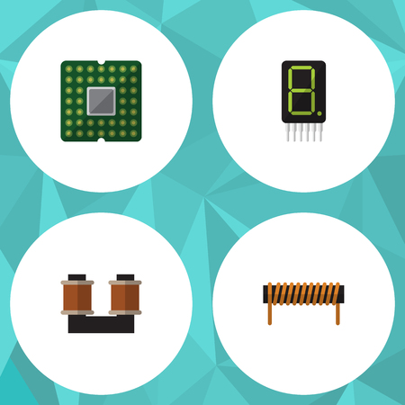 Flat Icon Device Set Of Bobbin, Unit, Coil Copper And Other Vector Objects. Also Includes Coil, Spool, Processor Elements.