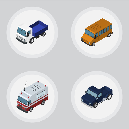 Isometric Car Set Of First-Aid, Suv, Autobus And Other Vector Objects. Also Includes Ambulance, Aid, Auto Elements.