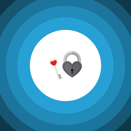 wedding couple: Isolated Lock Flat Icon. Key Vector Element Can Be Used For Key, Lock, Heart Design Concept.