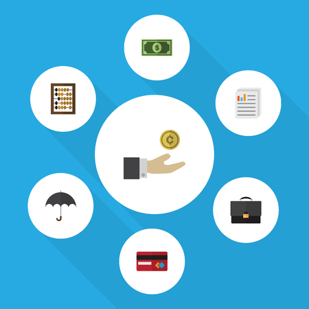 Flat Icon Finance Set Of Counter, Greenback, Document And Other Vector Objects. Also Includes Mastercard, Umbrella, Diplomat Elements.