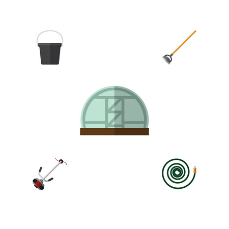Flat Icon Dacha Set Of Grass-Cutter, Tool, Pail And Other Vector Objects. Also Includes Bucket, Pail, Hothouse Elements.