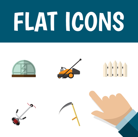 Flat Icon Garden Set Of Hothouse, Wooden Barrier, Lawn Mower And Other Vector Objects. Also Includes Mower, Wooden, Barrier Elements.