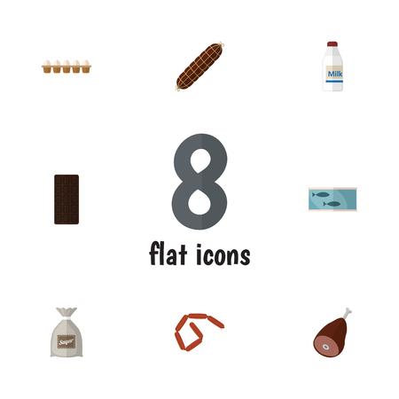 Flat Icon Meal Set Of Eggshell Box, Sack, Tin Tuna And Other Vector Objects. Also Includes Chocolate, Eggshell, Tuna Elements. Ilustração