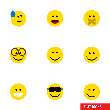 silent: Flat Icon Emoji Set Of Happy, Joy, Hush And Other Vector Objects. Also Includes Confused, Sunglasses, Happy Elements. Illustration