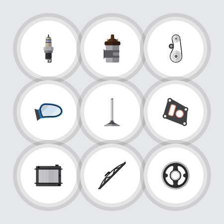 axles: Flat Icon Parts Set Of Gasket, Car Segment, Auto Component And Other Vector Objects. Also Includes Heater, Cambelt, Pulley Elements.