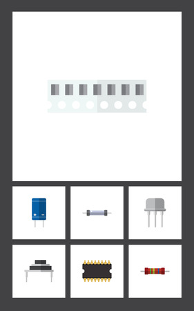 Flat Icon Electronics Set Of Microprocessor, Memory, Resistor And Other Vector Objects. Also Includes Resistance, Memory, Resistor Elements.