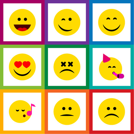 misunderstanding: Flat Icon Face Set Of Party Time Emoticon, Displeased, Descant And Other Vector Objects. Also Includes Sad, Eyes, Happy Elements.