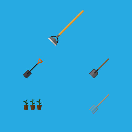 Flat Icon Farm Set Of Hay Fork, Tool, Spade And Other Vector Objects. Also Includes Flowerpot, Fork, Spade Elements. Illustration
