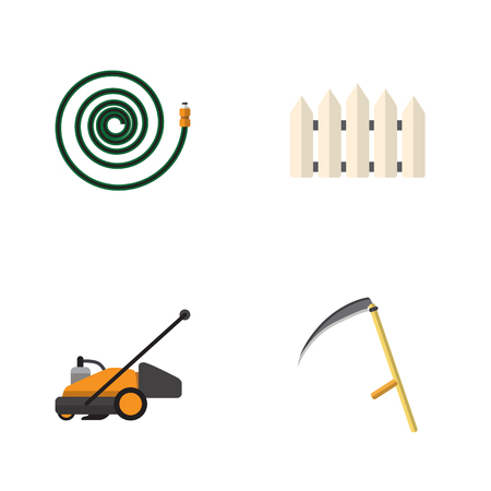 Flat Icon Garden Set Of Lawn Mower, Cutter, Wooden Barrier And Other Vector Objects. Also Includes Cutter, Tool, Hosepipe Elements. Illustration