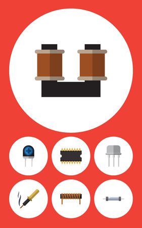Flat Icon Electronics Set Of Coil Copper, Bobbin, Microprocessor And Other Vector Objects. Also Includes Transducer, Semiconductor, Copper Elements. Illustration