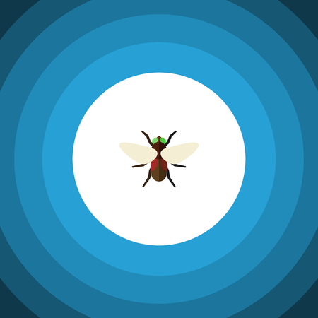 Isolated Dung Flat Icon. Bluebottle Vector Element Can Be Used For Dung, Fly, Bluebottle Design Concept. Illustration
