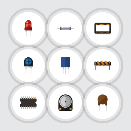 Flat Icon Technology Set Of Hdd, Bobbin, Mainframe And Other Vector Objects. Also Includes Coil, Electronics, Recipient Elements.