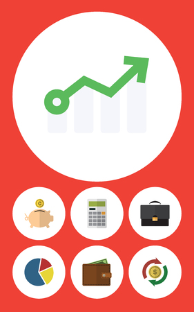 Flat Icon Finance Set Of Interchange, Growth, Portfolio And Other Vector Objects. Also Includes Calculate, Arrow, Finance Elements.