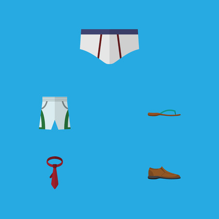 Flat Icon Garment Set Of Underclothes, Male Footware, Cravat And Other Vector Objects. Also Includes Necktie, Cravat, Man Elements.